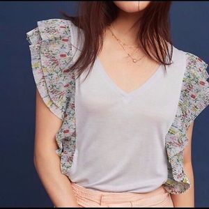 Venessa Virginia flutter sleeve tee, small. Veuc.